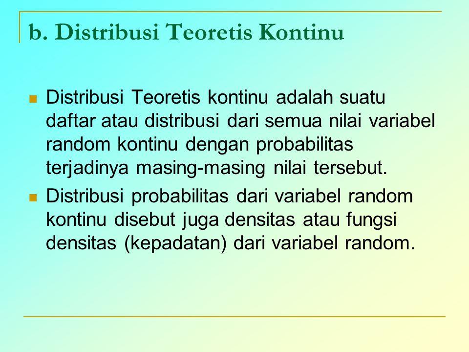 b. Distribusi Teoretis Kontinu Distribusi Teoretis kontinu adalah suatu daftar atau distribusi dari semua nilai variabel random kontinu dengan probabi
