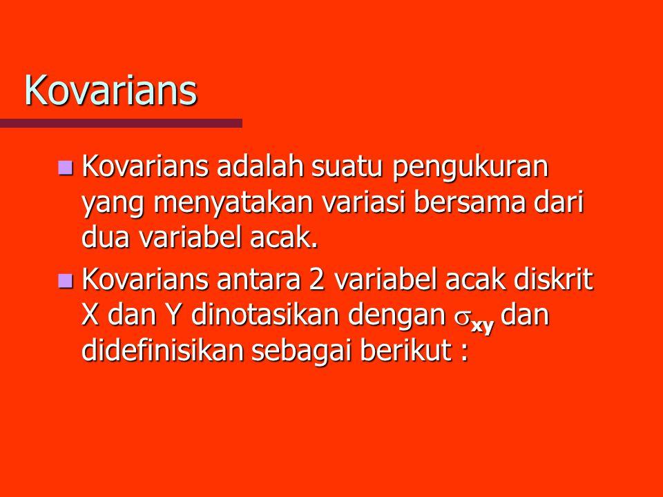 Kovarians Kovarians adalah suatu pengukuran yang menyatakan variasi bersama dari dua variabel acak. Kovarians adalah suatu pengukuran yang menyatakan