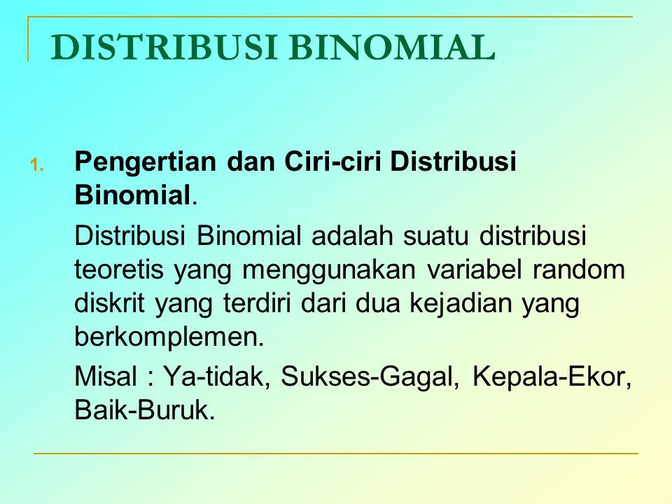 DISTRIBUSI BINOMIAL 1. Pengertian dan Ciri-ciri Distribusi Binomial. Distribusi Binomial adalah suatu distribusi teoretis yang menggunakan variabel ra