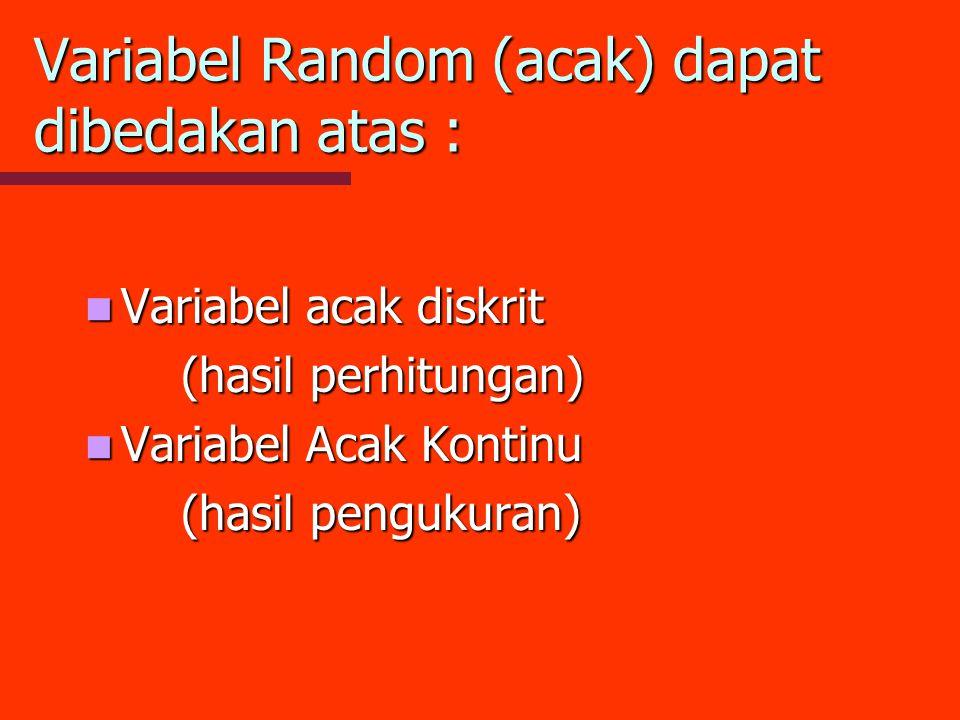 Variabel Random (acak) dapat dibedakan atas : Variabel acak diskrit Variabel acak diskrit (hasil perhitungan) Variabel Acak Kontinu Variabel Acak Kont