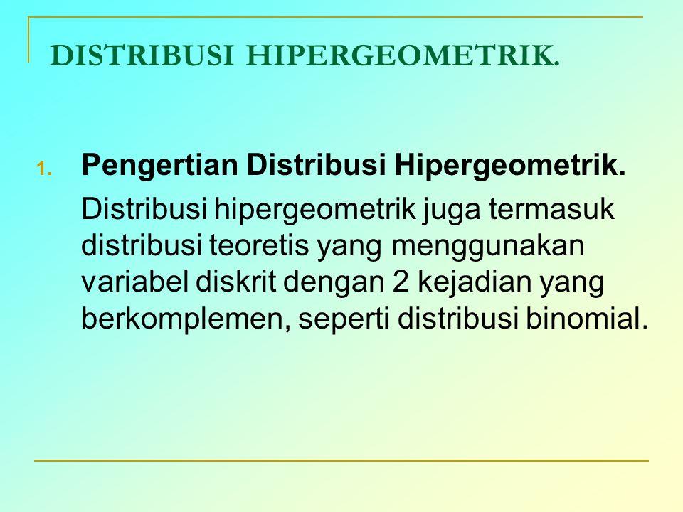 DISTRIBUSI HIPERGEOMETRIK. 1. Pengertian Distribusi Hipergeometrik. Distribusi hipergeometrik juga termasuk distribusi teoretis yang menggunakan varia