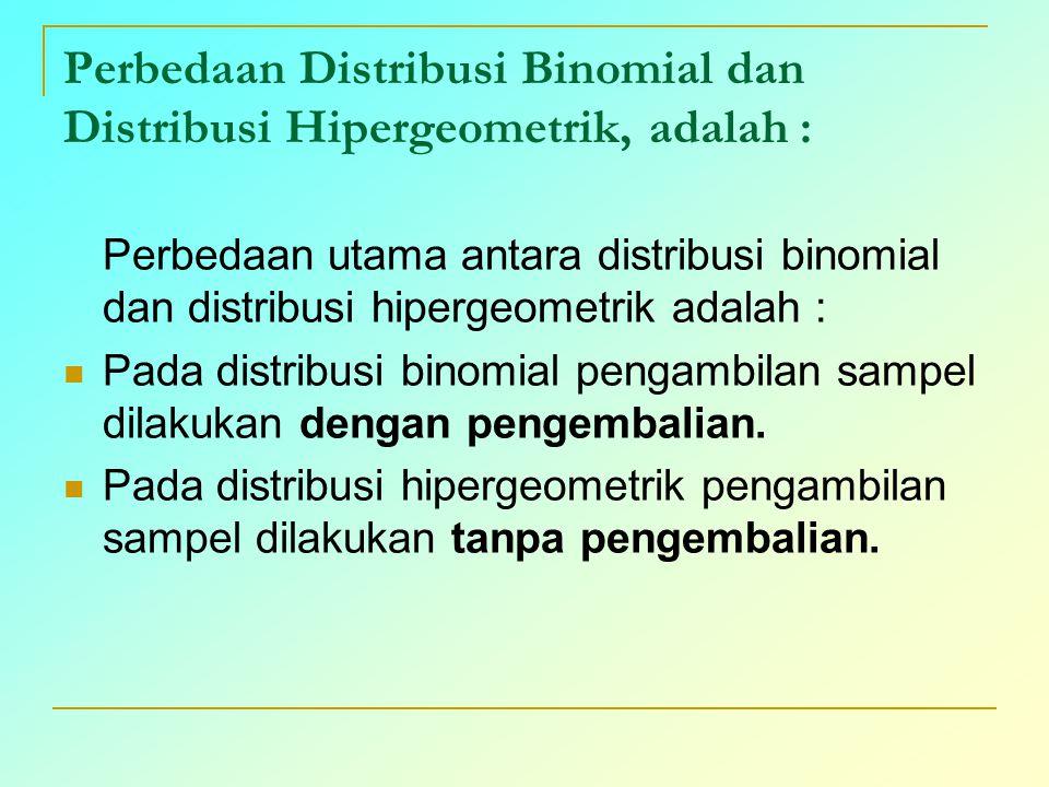 Perbedaan Distribusi Binomial dan Distribusi Hipergeometrik, adalah : Perbedaan utama antara distribusi binomial dan distribusi hipergeometrik adalah