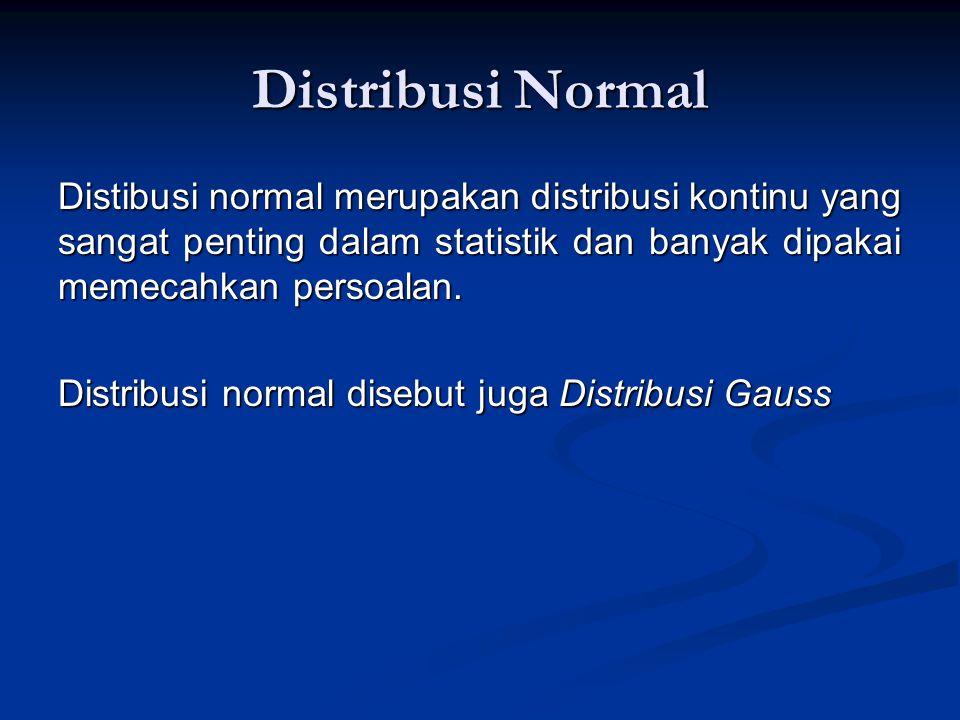 Distribusi Normal Distibusi normal merupakan distribusi kontinu yang sangat penting dalam statistik dan banyak dipakai memecahkan persoalan. Distribus