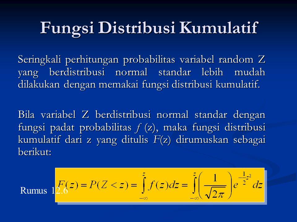 Fungsi Distribusi Kumulatif Seringkali perhitungan probabilitas variabel random Z yang berdistribusi normal standar lebih mudah dilakukan dengan memak
