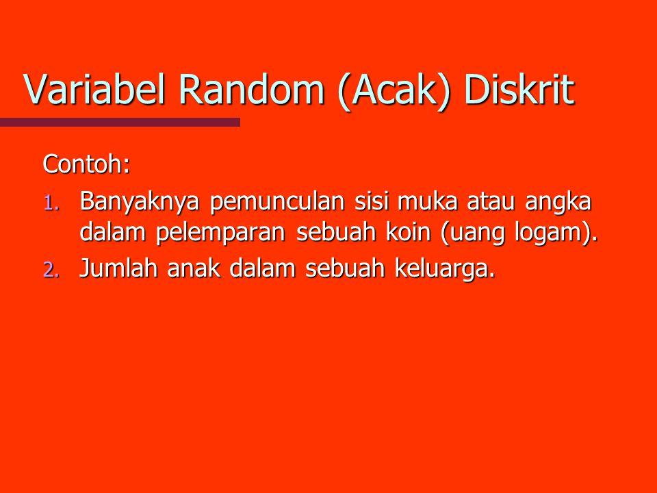 Variabel Random (Acak) Diskrit Contoh: 1. Banyaknya pemunculan sisi muka atau angka dalam pelemparan sebuah koin (uang logam). 2. Jumlah anak dalam se