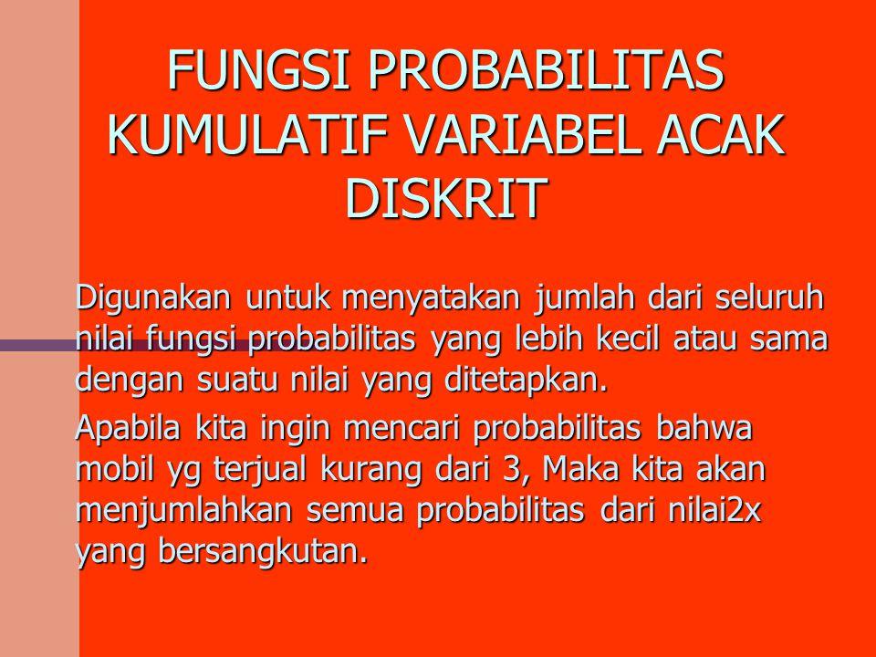 FUNGSI PROBABILITAS KUMULATIF VARIABEL ACAK DISKRIT Digunakan untuk menyatakan jumlah dari seluruh nilai fungsi probabilitas yang lebih kecil atau sam