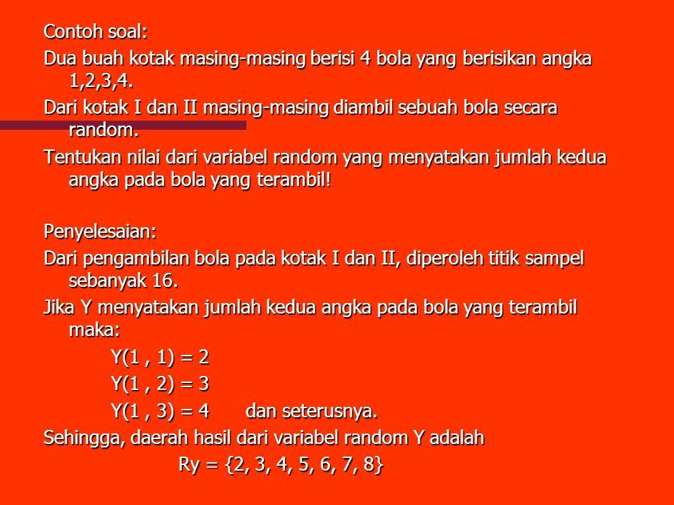 Contoh soal: Dua buah kotak masing-masing berisi 4 bola yang berisikan angka 1,2,3,4. Dari kotak I dan II masing-masing diambil sebuah bola secara ran