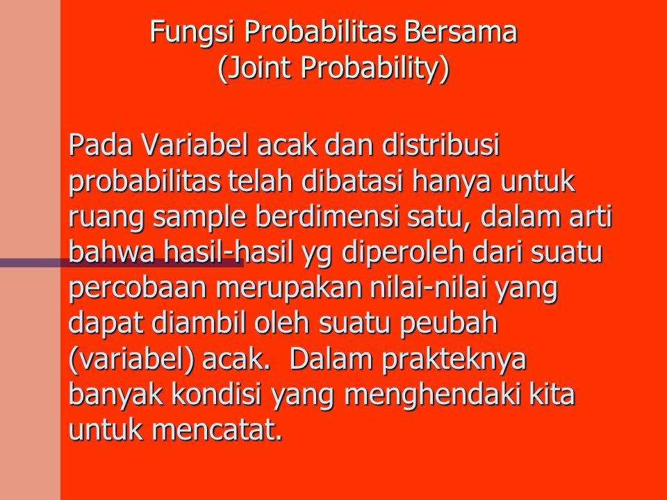 Fungsi Probabilitas Bersama (Joint Probability) Pada Variabel acak dan distribusi probabilitas telah dibatasi hanya untuk ruang sample berdimensi satu