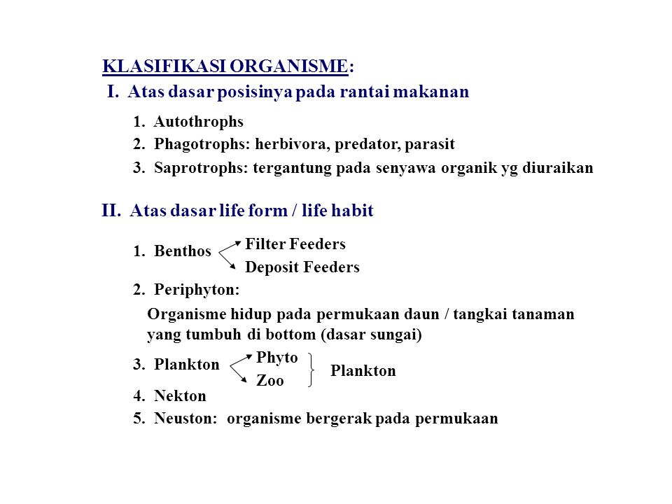 FRESH WATER ECOLOGY Ada dua habitat Fresh water: LENTIC: Standing water ex.
