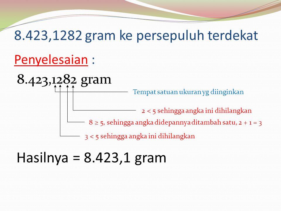 8.423,1282 gram ke persepuluh terdekat 8.423,1282 gram Tempat satuan ukuran yg diinginkan 2 < 5 sehingga angka ini dihilangkan 8 ≥ 5, sehingga angka d