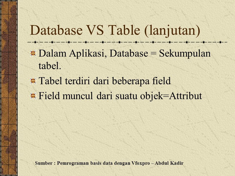 Database VS Table (lanjutan) Dalam Aplikasi, Database = Sekumpulan tabel.