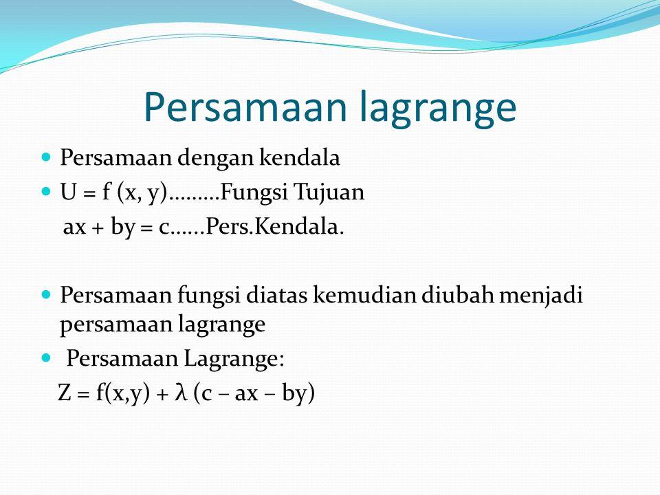 Persamaan dengan kendala U = f (x, y)………Fungsi Tujuan ax + by = c…...Pers.Kendala. Persamaan fungsi diatas kemudian diubah menjadi persamaan lagrange