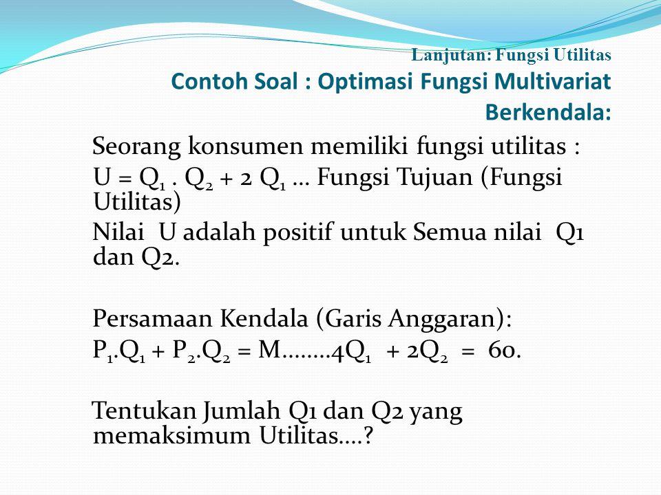 Lanjutan: Fungsi Utilitas Contoh Soal : Optimasi Fungsi Multivariat Berkendala: Seorang konsumen memiliki fungsi utilitas : U = Q 1. Q 2 + 2 Q 1 … Fun