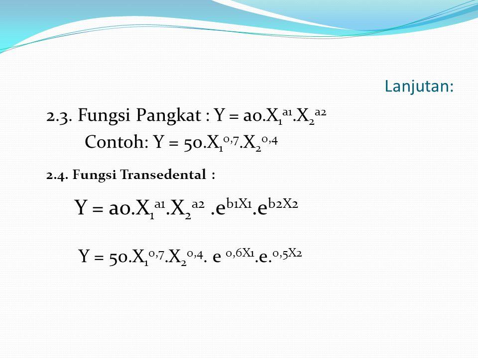 Lanjutan: 2.3. Fungsi Pangkat : Y = ao.X 1 a1.X 2 a2 Contoh: Y = 50.X 1 0,7.X 2 0,4 2.4. Fungsi Transedental : Y = ao.X 1 a1.X 2 a2.e b1X1.e b2X2 Y =