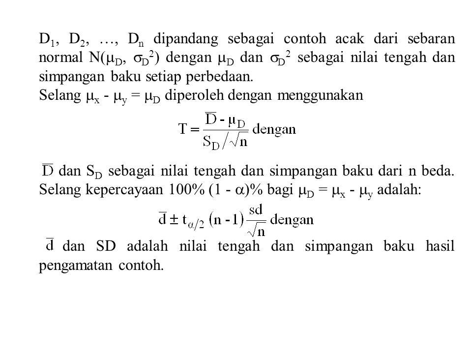 D 1, D 2, …, D n dipandang sebagai contoh acak dari sebaran normal N(  D,  D 2 ) dengan  D dan  D 2 sebagai nilai tengah dan simpangan baku setiap