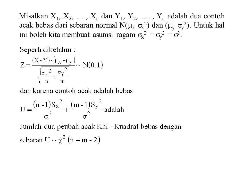 Misalkan X 1, X 2, …., X n dan Y 1, Y 2, ….., Y n adalah dua contoh acak bebas dari sebaran normal N(  x  x 2 ) dan (  y  y 2 ). Untuk hal ini bol