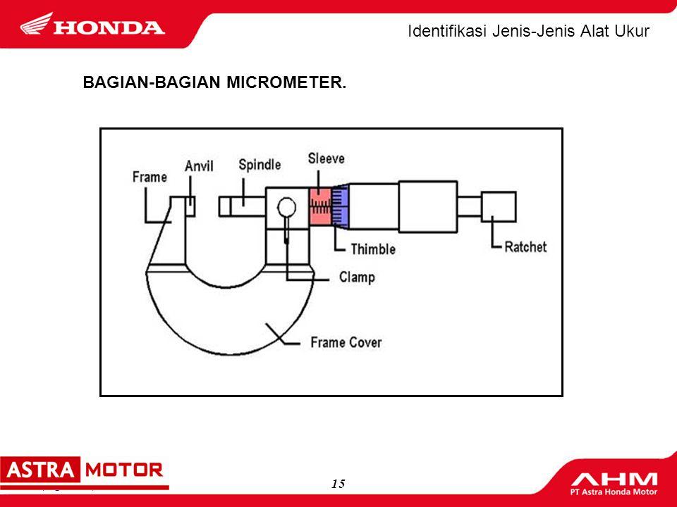 14(logo MD) Identifikasi Jenis-Jenis Alat Ukur Batas ukur Micrometer yg sering dipakai :  Micrometer 0 - 25 mm,(Micrometer untuk mengukur benda kerja