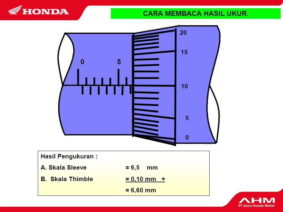 Hasil Pengukuran : A. Skala Sleeve = 6 mm B. Skala Thimble = 0,15 mm + = 6,15 mm 0 25 20 15 10 5 5 CARA MEMBACA HASIL UKUR. D