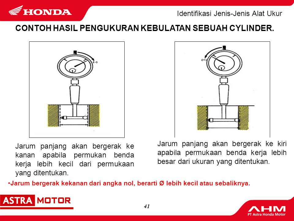 40(logo MD) 8.Lakukan pengukuran dengan Micrometer luar, dengan batas ukur yang sesuai, sampai jarum ukur menunjukkan posisi pengukuran CylinderGauge