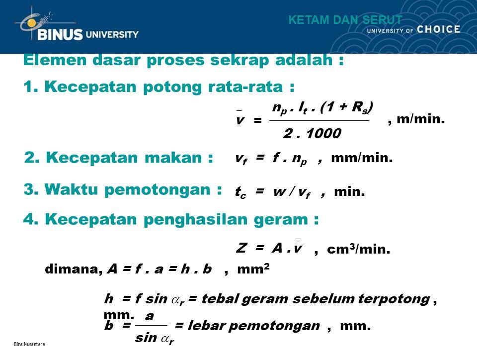 Bina Nusantara Elemen dasar proses sekrap adalah : 1. Kecepatan potong rata-rata : 2. Kecepatan makan : v f = f. n p, mm/min. v = n p. l t. (1 + R s )