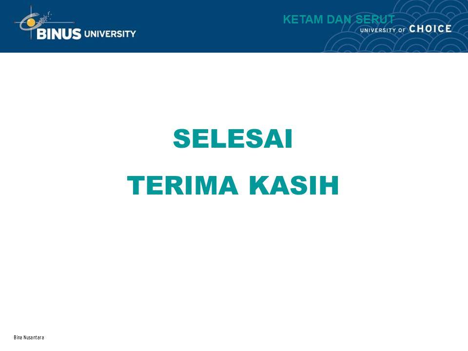 Bina Nusantara SELESAI TERIMA KASIH KETAM DAN SERUT