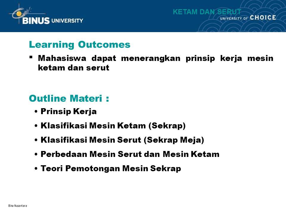 Bina Nusantara Learning Outcomes Outline Materi : KETAM DAN SERUT Mahasiswa dapat menerangkan prinsip kerja mesin ketam dan serut.