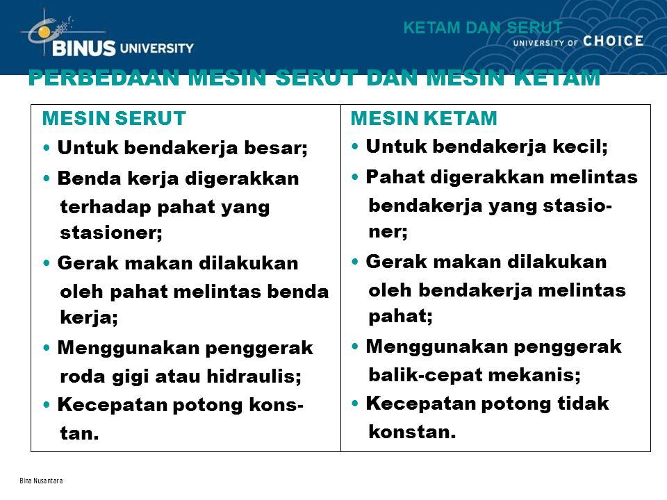Bina Nusantara PERBEDAAN MESIN SERUT DAN MESIN KETAM MESIN SERUT MESIN KETAM Untuk bendakerja besar; Untuk bendakerja kecil; Benda kerja digerakkan te