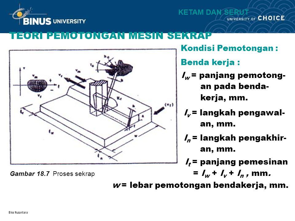 Bina Nusantara TEORI PEMOTONGAN MESIN SEKRAP Kondisi Pemotongan : Benda kerja : l w = panjang pemotong- an pada benda- kerja, mm. l v = langkah pengaw