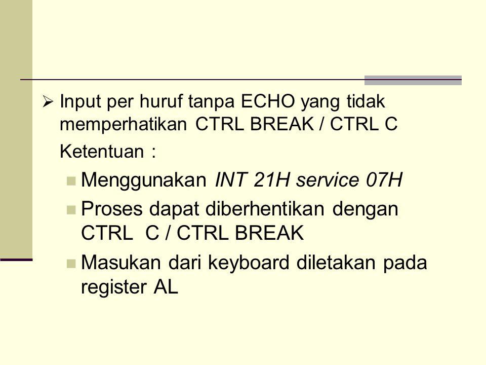  Input per huruf tanpa ECHO yang tidak memperhatikan CTRL BREAK / CTRL C Ketentuan : Menggunakan INT 21H service 07H Proses dapat diberhentikan denga