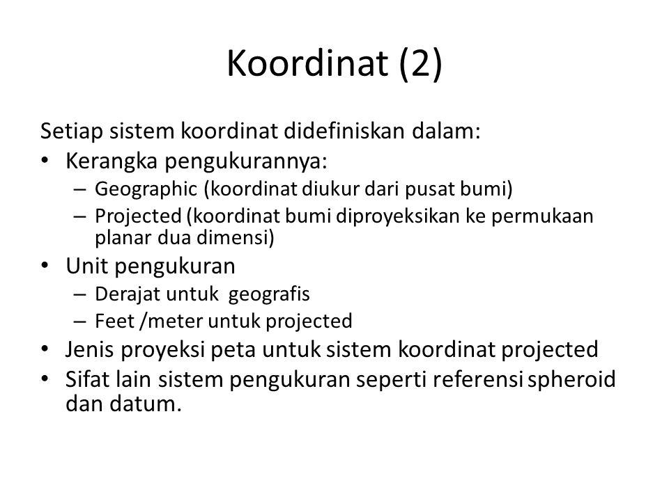 Koordinat (2) Setiap sistem koordinat didefiniskan dalam: Kerangka pengukurannya: – Geographic (koordinat diukur dari pusat bumi) – Projected (koordin