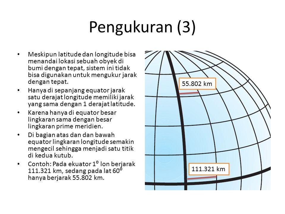 Pengukuran (3) Meskipun latitude dan longitude bisa menandai lokasi sebuah obyek di bumi dengan tepat, sistem ini tidak bisa digunakan untuk mengukur
