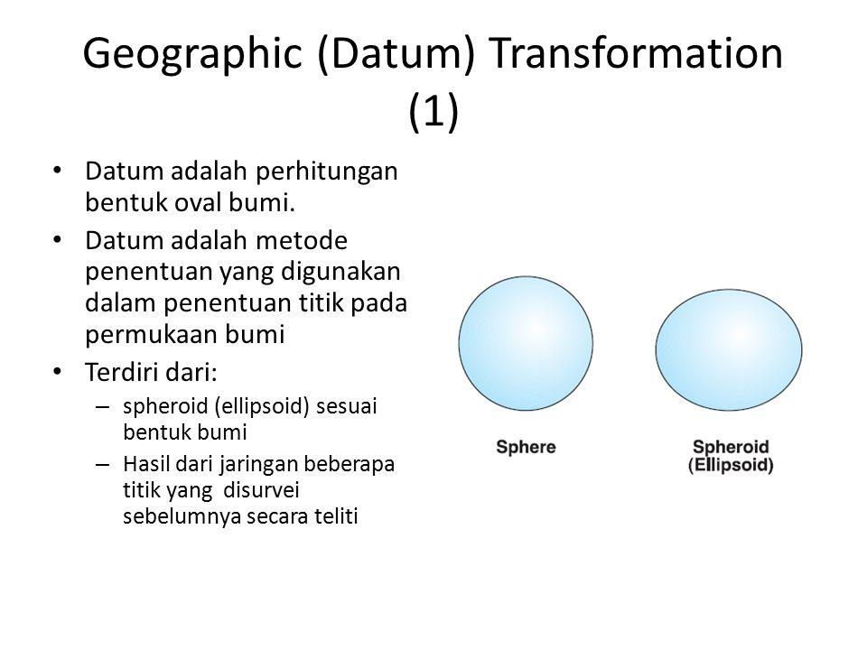 Geographic (Datum) Transformation (1) Datum adalah perhitungan bentuk oval bumi. Datum adalah metode penentuan yang digunakan dalam penentuan titik pa