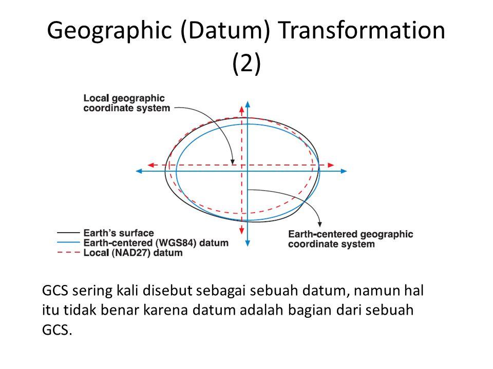 Geographic (Datum) Transformation (2) GCS sering kali disebut sebagai sebuah datum, namun hal itu tidak benar karena datum adalah bagian dari sebuah G