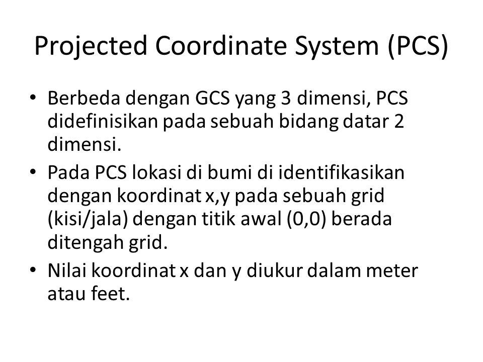Projected Coordinate System (PCS) Berbeda dengan GCS yang 3 dimensi, PCS didefinisikan pada sebuah bidang datar 2 dimensi. Pada PCS lokasi di bumi di