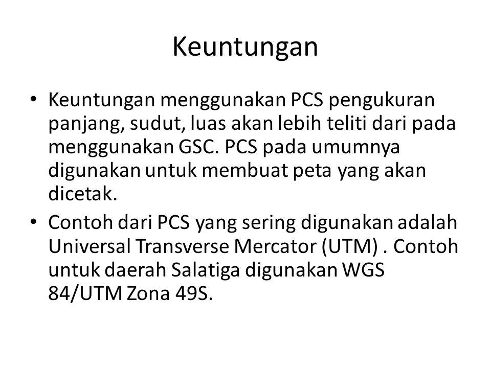 Keuntungan Keuntungan menggunakan PCS pengukuran panjang, sudut, luas akan lebih teliti dari pada menggunakan GSC. PCS pada umumnya digunakan untuk me
