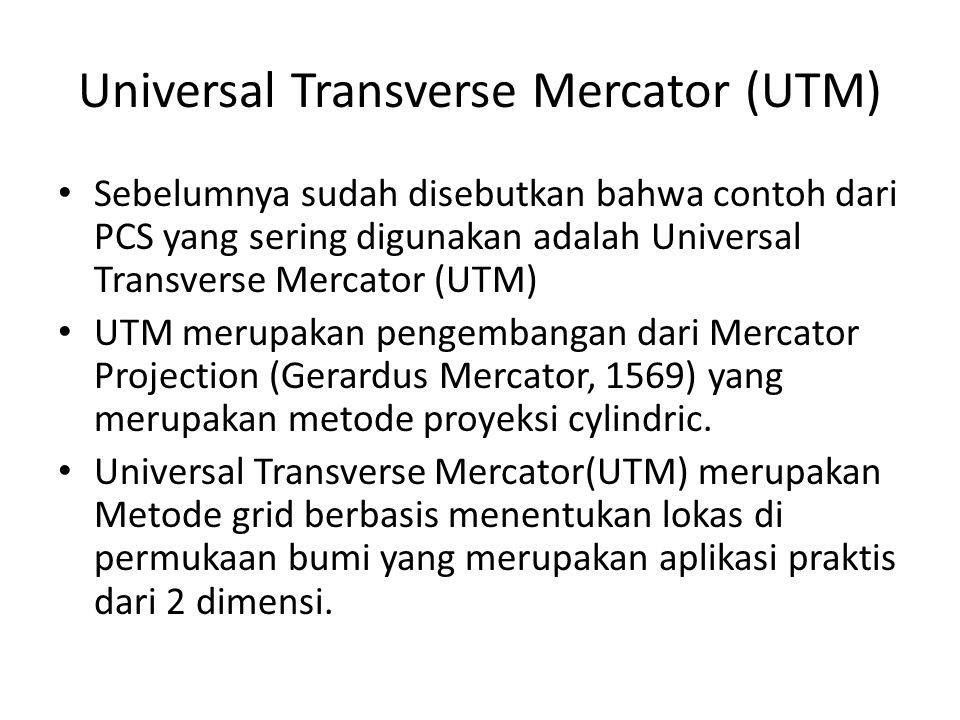 Universal Transverse Mercator (UTM) Sebelumnya sudah disebutkan bahwa contoh dari PCS yang sering digunakan adalah Universal Transverse Mercator (UTM)