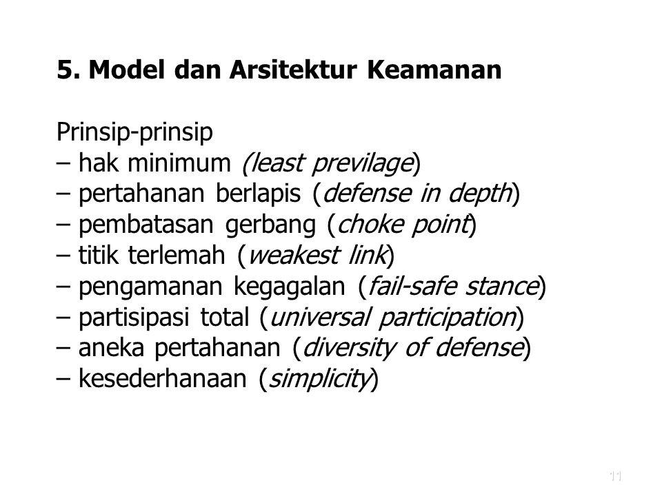 11 5. Model dan Arsitektur Keamanan Prinsip-prinsip – hak minimum (least previlage) – pertahanan berlapis (defense in depth) – pembatasan gerbang (cho