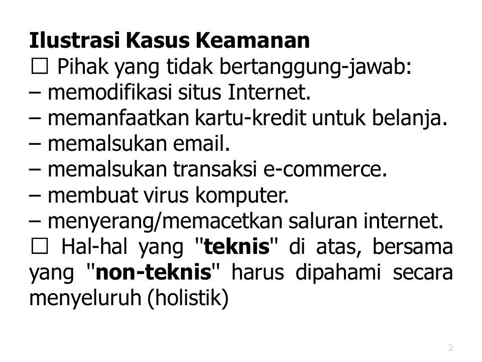 2 Ilustrasi Kasus Keamanan  Pihak yang tidak bertanggung-jawab: – memodifikasi situs Internet. – memanfaatkan kartu-kredit untuk belanja. – memalsuka