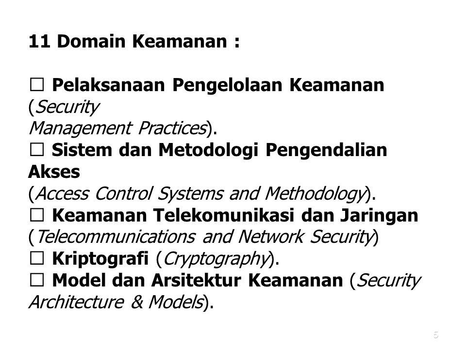 5 11 Domain Keamanan :  Pelaksanaan Pengelolaan Keamanan (Security Management Practices).  Sistem dan Metodologi Pengendalian Akses (Access Control
