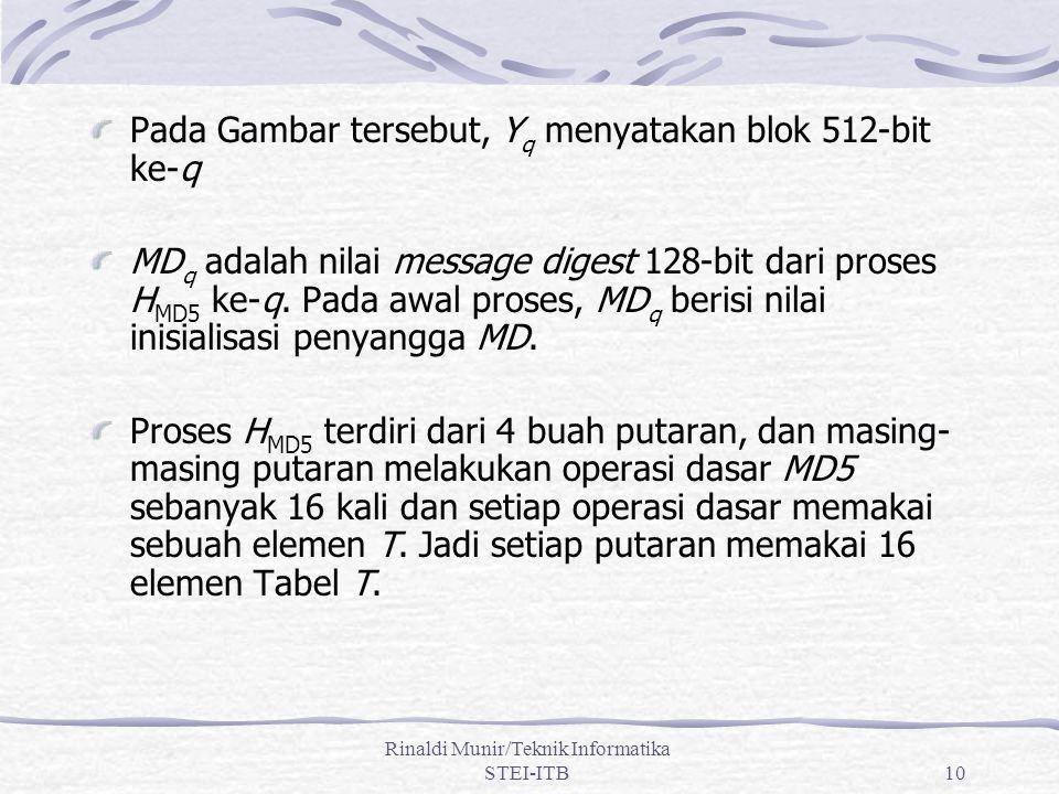 10 Pada Gambar tersebut, Y q menyatakan blok 512-bit ke-q MD q adalah nilai message digest 128-bit dari proses H MD5 ke-q. Pada awal proses, MD q beri