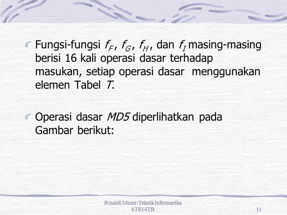 Rinaldi Munir/Teknik Informatika STEI-ITB11 Fungsi-fungsi f F, f G, f H, dan f I masing-masing berisi 16 kali operasi dasar terhadap masukan, setiap operasi dasar menggunakan elemen Tabel T.