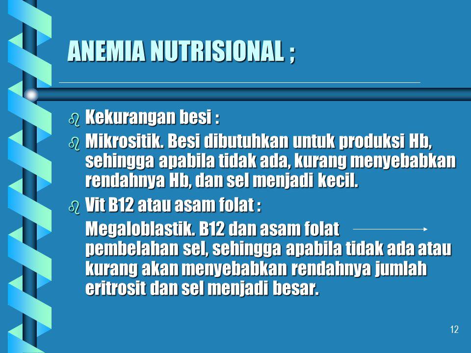 12 ANEMIA NUTRISIONAL ; b Kekurangan besi : b Mikrositik. Besi dibutuhkan untuk produksi Hb, sehingga apabila tidak ada, kurang menyebabkan rendahnya