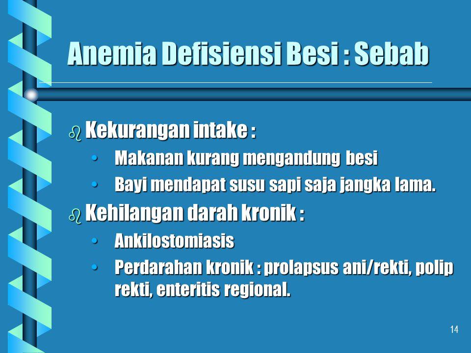14 Anemia Defisiensi Besi : Sebab b Kekurangan intake : Makanan kurang mengandung besiMakanan kurang mengandung besi Bayi mendapat susu sapi saja jang