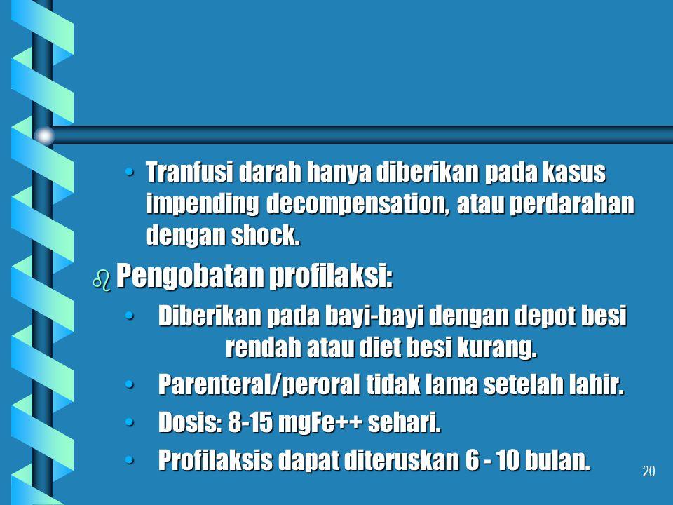 20 Tranfusi darah hanya diberikan pada kasus impending decompensation, atau perdarahan dengan shock.Tranfusi darah hanya diberikan pada kasus impendin
