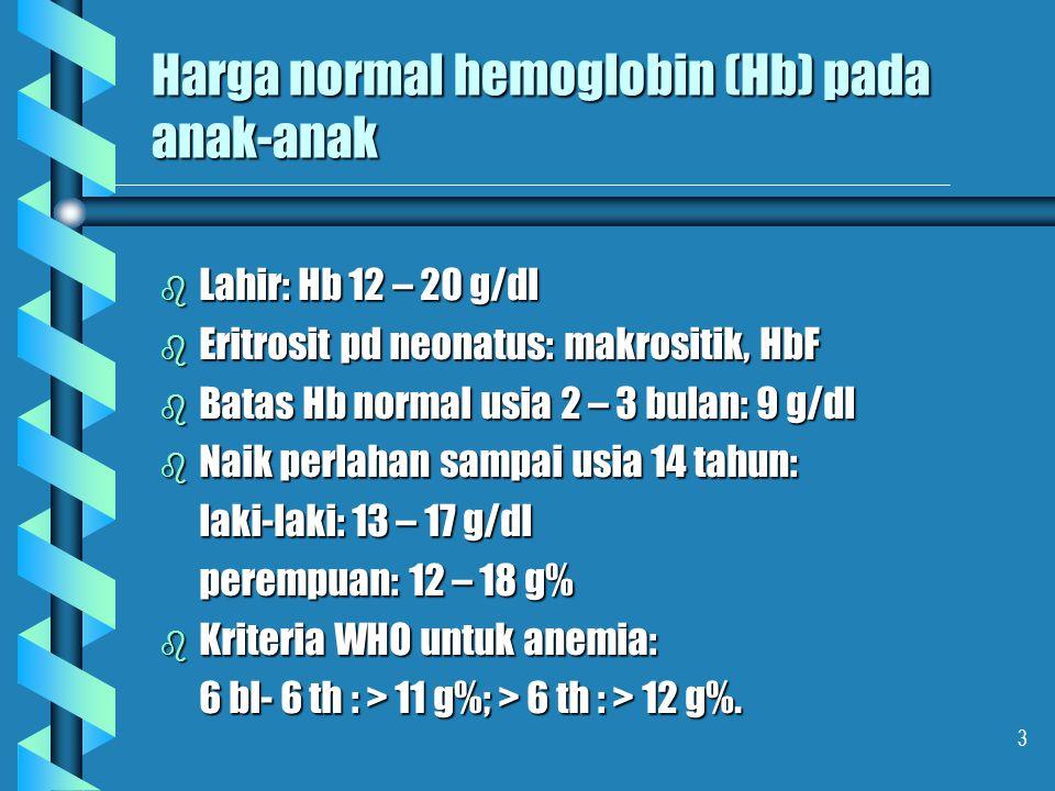 4 Eritrosit b Mengandung Hb : pembawa oksigen b Anemia : rendahnya Hb : sel kecil : mikrositik, MCV rendah sel kecil : mikrositik, MCV rendah ukuran normal : normositik, MCV normal ukuran normal : normositik, MCV normal ukuran besar : makrositik, MCV tinggi ukuran besar : makrositik, MCV tinggi