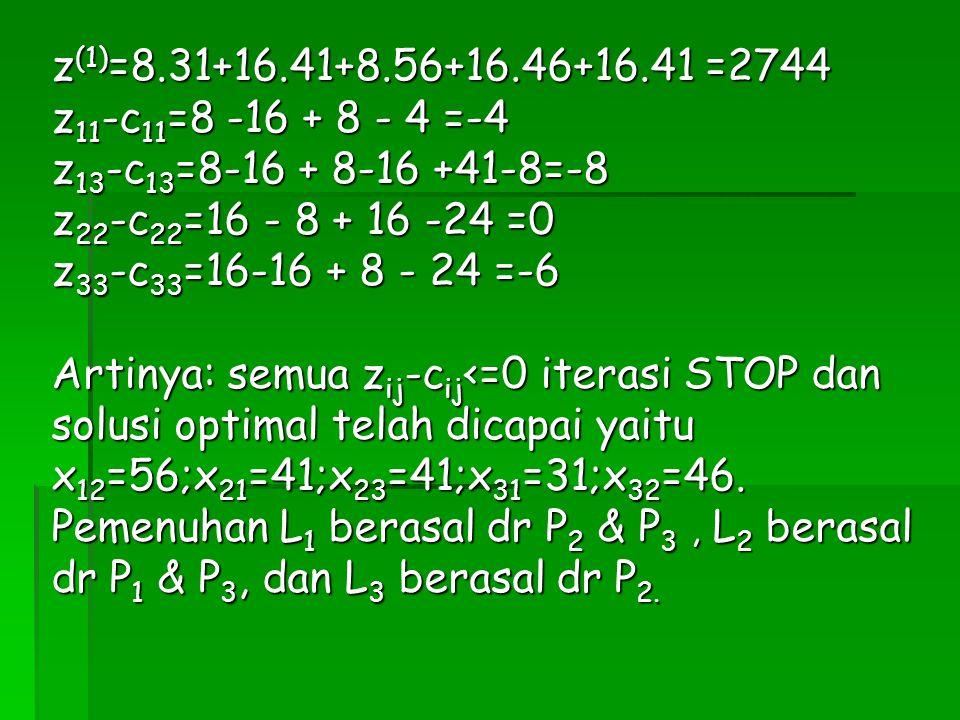 z (1) =8.31+16.41+8.56+16.46+16.41 =2744 z 11 -c 11 =8 -16 + 8 - 4 =-4 z 13 -c 13 =8-16 + 8-16 +41-8=-8 z 22 -c 22 =16 - 8 + 16 -24 =0 z 33 -c 33 =16-