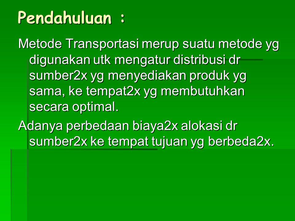 Pendahuluan : Metode Transportasi merup suatu metode yg digunakan utk mengatur distribusi dr sumber2x yg menyediakan produk yg sama, ke tempat2x yg me