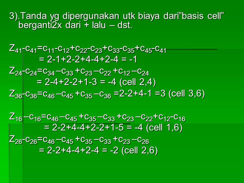 """3).Tanda yg dipergunakan utk biaya dari""""basis cell"""" berganti2x dari + lalu – dst. Z 41 -c 41 =c 11 -c 12 +c 22 -c 23 +c 33 -c 35 +c 45 -c 41 = 2-1+2-2"""
