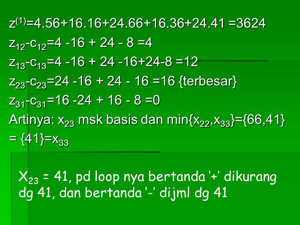z (1) =4.56+16.16+24.66+16.36+24.41 =3624 z 12 -c 12 =4 -16 + 24 - 8 =4 z 13 -c 13 =4 -16 + 24 -16+24-8 =12 z 23 -c 23 =24 -16 + 24 - 16 =16 {terbesar