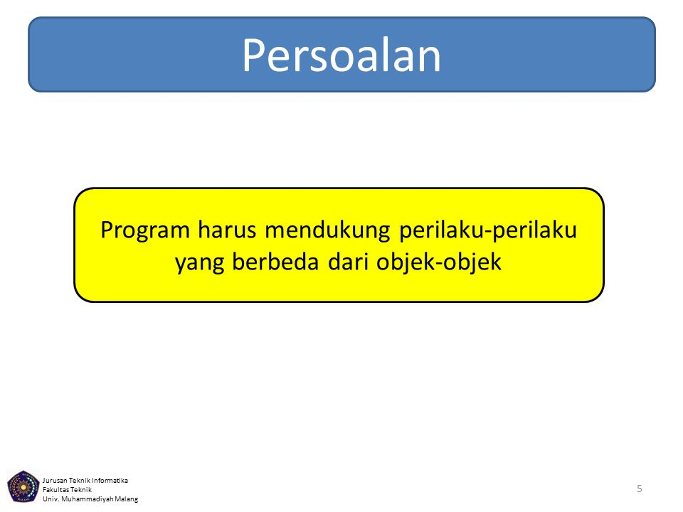 Jurusan Teknik Informatika Fakultas Teknik Univ. Muhammadiyah Malang 5 Persoalan Program harus mendukung perilaku-perilaku yang berbeda dari objek-obj